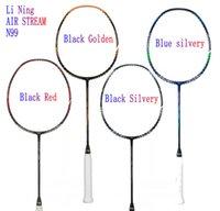 raquetas de badminton grátis venda por atacado-LI-NING AIR STREAM N99 II Chen Long equipe nacional de Badminton Raquete de alta elasticidade raquete de carbono Completa linha FRETE GRÁTIS