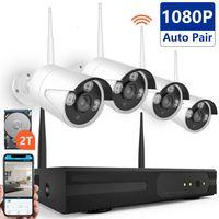 4channel drahtlose kamera-kits großhandel-4-Kanal-Wireless-Kamera-Kits Home Security CCTV-System WiFi-IP-Kamera 1080P 4-Kanal-HD Wireless-Überwachungskamera-System für Villa, Home