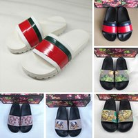 Wholesale cute slipper sandals for sale - Group buy 2019 New Release Floral brocade Womens Designer Slides Slippers Men s Gear bottoms Sandals With Tiger Flowers Cute Deer Striped Casual Shoes