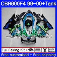 ingrosso honda cbr f4 abbellimento 1999 blu-Bodys + Tank per HONDA CBR 600 F4 FS CBR 600F4 CBR600F4 99 00 287HM.44 CBR600FS CBR600 F 4 CBR600 F4 Repsol blue nuovo 1999 2000 Kit carenatura