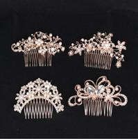 peines de cristal dorado al por mayor-Oro rosa nupcial tiaras de la boda impresionante peine fino accesorios de joyería nupcial perla de cristal cepillo del pelo utterfly horquilla para la novia