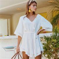 vestido de encaje de algodón blanco al por mayor-Vestido de playa de playa Bikini de encaje de playa con botón abotonado Hombre de bambú Hombre Bardian White 35lx C1