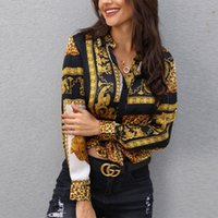 geknöpfte bluse großhandel-2019 Frühlings-Frauen-Leopard-Druck Knoten vorn Bluse Shirt Büro-Dame Elegante Turn-Down-Kragen Langarm T-Shirt Button Street J190621