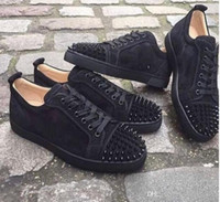Wholesale footwear for mens for sale - Group buy Luxury Shoes For Men Women Red Bottom Design Black Suede Leather Spiked Flats Mens Low Sneakers Junior Studs Trainers Outdoor Footwear