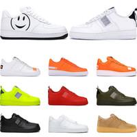 homens moda sapatos brancos venda por atacado-nike air force 1 Homens 1 Utilitário Clássico Preto Branco Dunk Mulheres Sapatos Casuais vermelho one Skateboarding High Low Cut formadores de Trigo Esportes Tênis tamanho 36-45