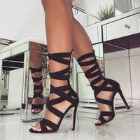 босоножки в стиле римского стиля оптовых-Эластичные сандалии на высоком каблуке в римском стиле