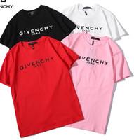 xxl t kadın tişörtleri toptan satış-2019 Yeni Tee pamuk zarar vermek mektup logo baskı kısa kollu O-Boyun T-shirt erkekler ve kadınlar t gömlek giymek rahat tee S-XXL