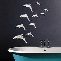 Wholesale dolphin bathroom decor resale online - 1 Set Wall Mirror Sticker Acrylic D Cute Dolphin Combination Mirror Effect Wall Sticker Decal Home Decor Bathroom Stickers jan9