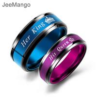 paare blaue edelstahlringe großhandel-AENINE Blau / Pink Poliert Edelstahl Paar Ehering Schmuck Mode Ihr König Seine Königin Krone Lovers 'Ring JOGJ649