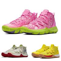 satılık etiketler toptan satış-Yeni Kyrie V Patrick Işlemeli Splatbours Spongebobs Basketbol Ayakkabı Satılık En Kaliteli Irving 5 Sneakers Spor Kutusu Ile StockX Etiketi