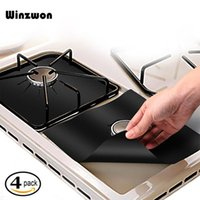Wholesale gas stove for sale - Group buy 4Pcs set Reusable Gas Stove Protector Non Stick Glass Fiber Gas Stove Burner Cover Mat Pad Clean Liner For Kitchen