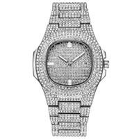 papéis de diamante venda por atacado-Papel Hip Hop Relógio Bling Diamante Relógio de Homens de Aço Banda de Prata dos homens de Negócios de Quartzo Relógios de Pulso À Prova D 'Água Relogio