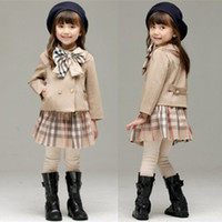 Wholesale cute baby girl winter coats for sale - Group buy Retail baby girl winter outfits Korean plaid sports suit sets Clothing Sets Infant kids designer tracksuits boutique clothes