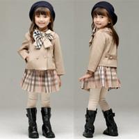 ingrosso le ragazze coreane vestono-Vendita al dettaglio invernale bambina abiti 2pcs coreano vestito di sport plaid imposta Set di abbigliamento per bambini tute bambini abiti firmati boutique
