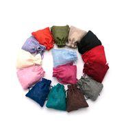 мешки оптовых-Индивидуальные небольшие подарочные пакеты джут Drawstring мешки 7x9 см 100 шт. / лот нетканые ткани сумки упаковка ювелирных изделий мешки для хранения