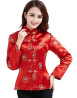 blusa de manga larga china al por mayor-Shanghai Story Dragón Bordado Camisa Cheongsam Qipao Top Manga Larga Tradicional China Blusa Superior Para Las Mujeres