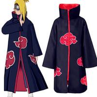 naruto akatsuki itachi uchiha kostüm großhandel-Heißer Verkauf Anime Naruto Akatsuki / Uchiha Itachi Cosplay Halloween Weihnachtsfeier Kostüm Mantel Cape