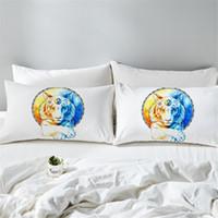 fundas de almohada de impresión de tigre al por mayor-Inner Balance by Pillowcase Tigers Estuche de almohada estampado Animal Blue Tai Chi Sun y la luna Almohada Fundas 2pcs