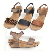 ingrosso tacco sandali bendaggio-Scarpe tacco alto leopardo Sandali Toe Sandali romani Scarpe femminili Bende Sandali piatti Scarpe comode di grandi dimensioni