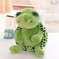 kaplumbağa oyuncakları hediye toptan satış-Yeni 20 cm Peluş Bebek Süper Yeşil Büyük Gözler Dolması Kaplumbağa Kaplumbağa Hayvan Peluş Bebek Oyuncak Hediye EEA521