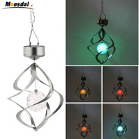 outdoor led lights change color toptan satış-Sıcak Renk Değiştirme Güneş Enerjili LED Rüzgar Çanları Rüzgar Spinner Açık Asılı Spiral Bahçe Işık Avlu Dekorasyon