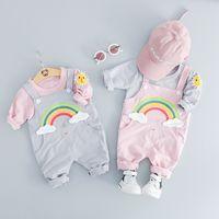 jungen hosenträger t-shirts großhandel-Frühlings-Baby-Jungen-Mädchen-Kleidungs-gesetzte Kind-Karikatur lange Ärmel T-Shirt top + Regenbogen-Strumpfhose 2pcs / set Kinder Outfits M439