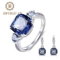 ingrosso orecchino balletto-BALLET GEM PIAZZA 9.62ct Natural Iolite Blue Mystic quarzo Fashion Jewelry Set 925 orecchini Ring Set per le donne