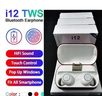 colorful bluetooth headphones 도매-I12 TWS 5.0 무선 블루투스 헤드폰 이어폰을 지원하는 블루투스 다채로운 터치 제어 무선 헤드셋의 이어 버드 뜨거운 판매