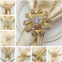 anneaux en plastique achat en gros de-Anneau de serviette cerf en alliage anneau de serviette en perle de mode Le plus récent anneau de serviette en forme de pomme plaqué or T9I004