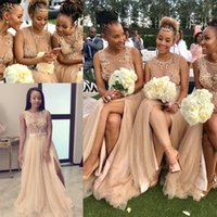 Wholesale coral bridesmaid robes resale online - 2019 African Sheer Bridesmaid Dresses Tulle Illusion Bodice Appliques Women Party Dress For Wedding Luxury Pearls Gowns robe