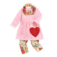 Wholesale baby red tshirt resale online - New Valentine s day baby girls clothing suit red love heart spring pink top tshirt pants scarf three piece set