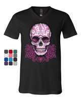 ingrosso rose giapponesi-T-Shirt Pink Sugar Skull With Roses T-Shirt Calavera Day Of The Dead Tee Uomo Man's Geek T-shirt personalizzata Plus Size Japan Anime Cartoon Te