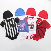 ingrosso vestiti di stile dei ragazzi-Neonato Basket Short Onesies Pagliaccetti Neonato Toddler Tute di cotone Bambini Body Girl Boy Jumpers Pagliaccetto Outfit 5 Stile