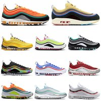 siyah kravat boyası toptan satış-Nike Air Max 97 Üçlü Beyaz Siyah Kadın Erkek Koşu Ayakkabıları Kravat Boya Pakc Parlak Citron NEON SEOUL TEMIZLE Zümrüt Mens Eğitmenler Spor Sneakers 36-45