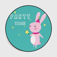 desenhos animados verdes do coelho venda por atacado-Roud estilo coelho bonito dos desenhos animados coelho rodada tapete crianças escalada tapete pendurado cesta cadeira quarto tapete antiderrapante tapete