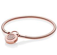 ingrosso braccialetto d'argento liscio-Più nuovo 925 Sterling Silver Pan Braccialetto Rose Logo Signature Lucchetto Smooth Snake Bracelet Bangle Fit Bead Charm Gioielli fai da te