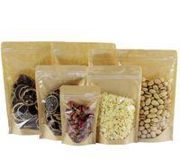 sacos de comida de papel kraft venda por atacado-Saco de Papel Kraft Sacos de Barreira de Umidade Alimentar Ziplock Sacos de Embalagem de Alimentos Sacos de Embalagem de Alimentos Reutilizável Frente Transparente Stand Up Bag GGA2062