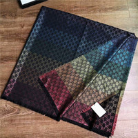 Wholesale wool silk pashmina scarf shawl for sale - Group buy 2019 Designer Scarf brand Scarf Cashmere and silk letter strip Scarves For Winter Womens square Wraps Size x140cm