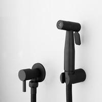 torneiras de sensores montadas na parede venda por atacado-304 aço inoxidável preto Bidé Casa de Banho chuveiro de mão Bidé WC Pulverizador higiênico Duche Bidé Toque Wall Mount torneira bidé