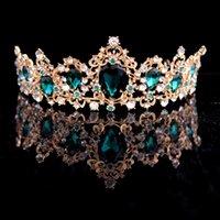 ingrosso blu corona tiaras-Corona barocca Rosso Blu Cristallo verde Diademi Corona Accessori per capelli in oro vintage con strass per matrimoni Diadem