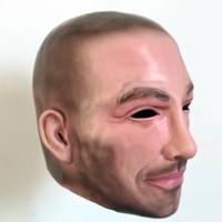лицевая охлаждающая маска оптовых-Бесплатная Доставка Halloween Party Cosplay Известный Человек Дэвид Бекхэм Маска Для Лица Латексная Вечеринка Real Human Face Mask Прохладный Реалистичная Маска