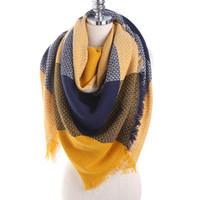 ingrosso pashmina invernale gialla-2019 moda scozzese plaid sciarpa per donna faux cashmere scialle inverno poncho faux lana marca sciarpe donna Tippet pashmina