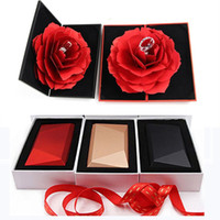 Wholesale jewellery making rings resale online - Red Rose Ring Box Hand Made Rotate rose Wedding Originality Gift Box Fashion Valentines Engagement Box Jewellery Packaging Box
