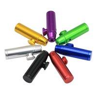 ingrosso sigaretta mini tubo-Bullet Snuff Pipe Portable Snuff Tube Mini Straight Type Dab Rig Metal Snorter Pipe Pipe Accessori per sigarette