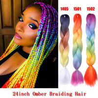 Wholesale black kanekalon braiding hair for sale - Group buy 24 Sythentic Rainbow Colored Jumbo Braiding Hair Extensions For Black Women Kanekalon and Toyokaon Tone Crochet omber Braids Hair Bulks