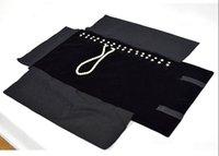 ingrosso sacchetto di rotolamento del braccialetto-All black Velvet Pearl Bracelet Collana Chain Jewelry Roll Travel Case Borsa Organizzatore Roll-Up Pouch Porta display