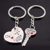 ingrosso la chiave di blocco squilla gli anelli-Sorriso Ti amo cuore Key Lock Keychain portachiavi tiene coppia donna uomo moda gioielli regalo