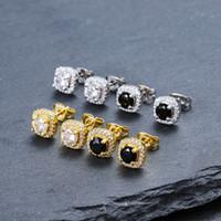 schwarze männer schmuck großhandel-Herren Hip Hop Ohrstecker Schmuck Hochwertige Mode Runde Gold Silber Schwarz Diamant Ohrringe Für Männer