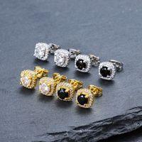 joyería de hip hop de calidad al por mayor-Mens Hip Hop Stud Pendientes de joyería de moda de alta calidad ronda oro plata negro diamante pendientes para hombres