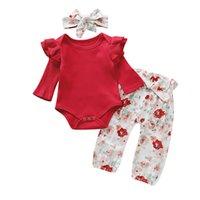 kleine kinder tops groihandel-Baby Printed Suit Kleinkind-Mädchen feste Tops Kinder Designer-Kleidung Baby-beiläufige kleine Blumenhose mit Stirnband dreiteiligen Anzug 06